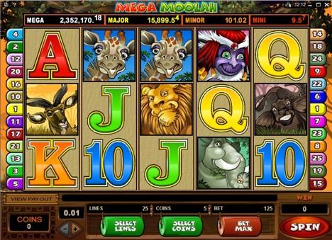 Una schermata della video slot Mega Moolah.